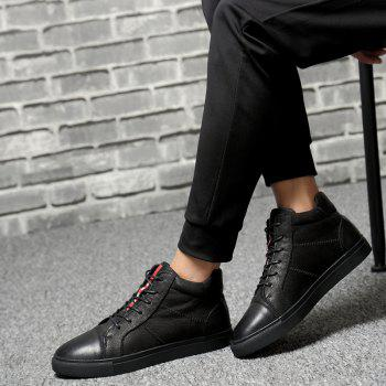 Men Special Genuine Leather Casual Shoes - BLACK 42