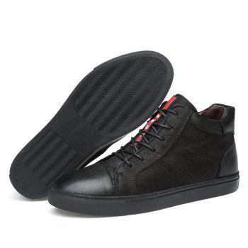 Men Special Genuine Leather Casual Shoes - BLACK 37