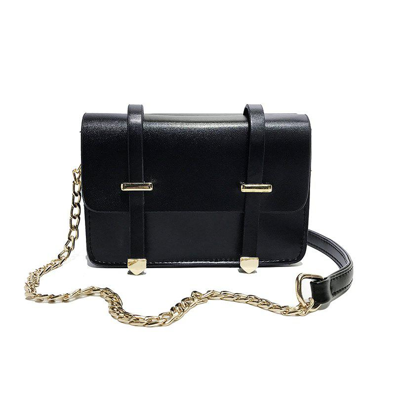 Hit Color Handbags Simple Harajuku Chain Shoulder Messenger Bag - BLACK