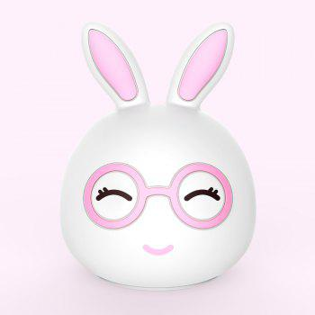 Silica Gel Intelligent Sensor Night Light Happy And Lovely Small Rabbit Seven Color Bedside Lamp - PINK 10.8X10.4X13.6CM