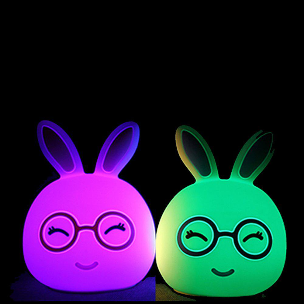 Silica Gel Intelligent Sensor Night Light Happy And Lovely Small Rabbit Seven Color Bedside Lamp - BLUE 10.8X10.4X13.6CM