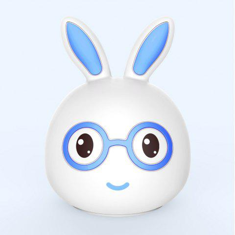 Silica Gel  Intelligent Sensor Night Light  Smile And Lovely Small Rabbit Seven Color Bedside Lamp - BLUE 10.8X10.4X13.6CM