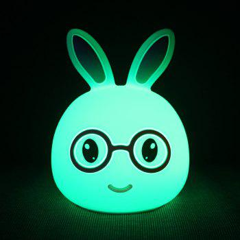 USB Charging Silica Gel Intelligent Sensor Night Light Smile And Lovely Small Rabbit Seven Color Bedside Lamp - BLUE 10.8X10.4X13.6CM