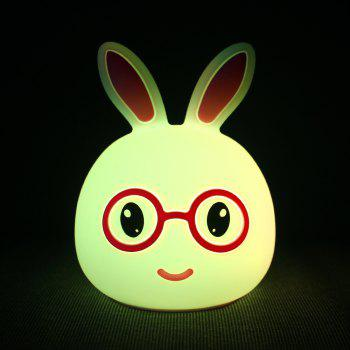 USB Charging Silica Gel Intelligent Sensor Night Light Smile And Lovely Small Rabbit Seven Color Bedside Lamp - PINK 10.8X10.4X13.6CM