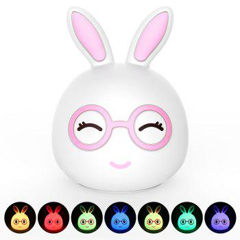 USB Charging Silica Gel Intelligent Sensor Night Light Happy And Lovely Small Rabbit Seven Color Bedside Lamp - PINK 10.8X10.4X13.6CM