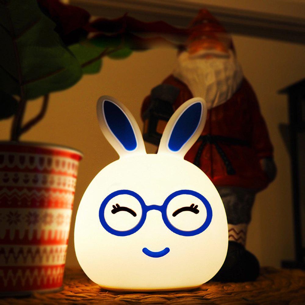 USB Charging Silica Gel Intelligent Sensor Night Light Happy And Lovely Small Rabbit Seven Color Bedside Lamp - BLUE 10.8X10.4X13.6CM