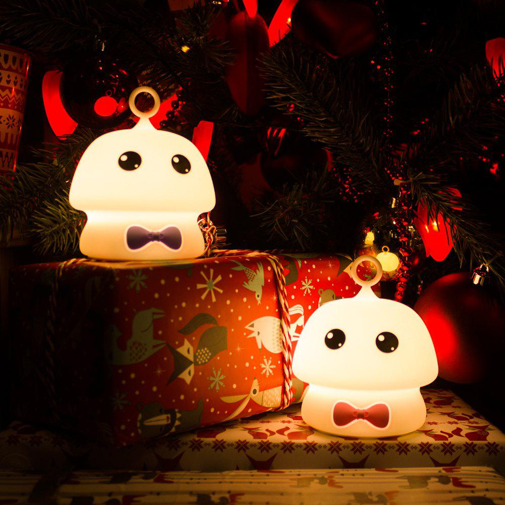 Colorful Mushroom Silica Gel White Cartoon Night Light LED  On The Bedside Lamp - PURPLE 9.7X9.7X11.5CM