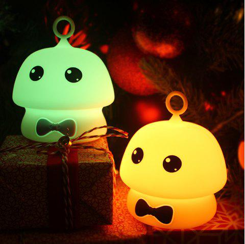 Colorful Mushroom Silica Gel Pink AND Blue Cartoon Night Light LED  On The Bedside Lamp - BLUE 9.7X9.7X11.5