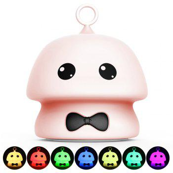 Colorful Mushroom Silica Gel Pink AND Blue Cartoon Night Light LED  On The Bedside Lamp - PINK 9.7X9.7X11.5CM