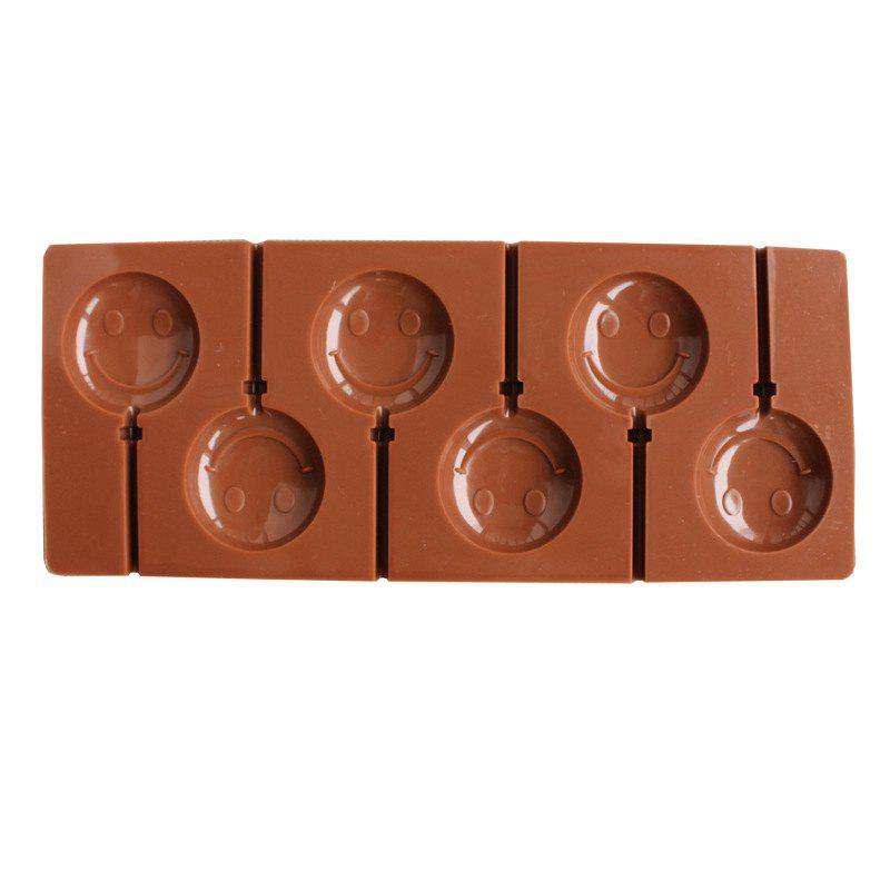 2 Pcs  Smile Face  Chocolate Lollipop Mold  DIY Baking Tools - BROWN