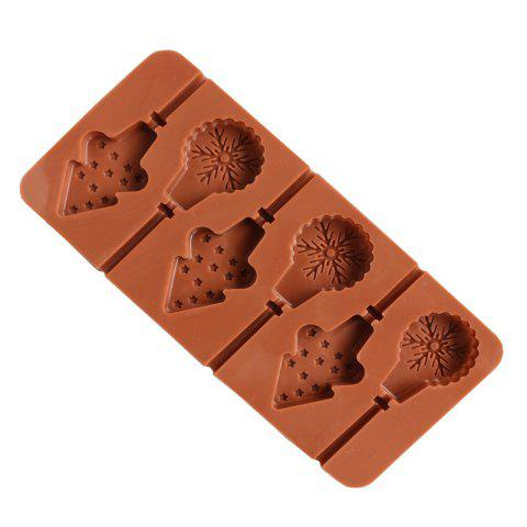 2 Pcs 6 Even Snowflake Christmas Tree Lollipop Silicone Chocolate Mold - BROWN