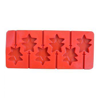 2 Pcs Double Star Shape Anime Baton Silicone Chocolate Lollipop Mold Handmade DIY Baking Tools Kitchen - RED RED
