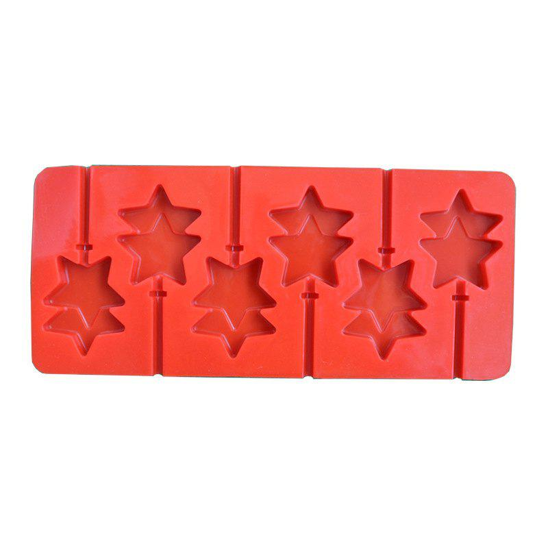 2 Pcs Double Star Shape Anime Baton Silicone Chocolate Lollipop Mold Handmade DIY Baking Tools Kitchen - RED