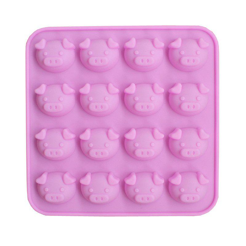 2 Pcs 16 Holes Pig Silicone Cake Mold Cartoon Animals Baking Chocolate Pudding Cookie Tools - PINK