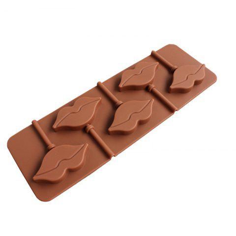 2 Pcs  Lips Lollipop  Silicone Mold Chocolate Personalized Fashion Handmade DIY Bakeware - BROWN