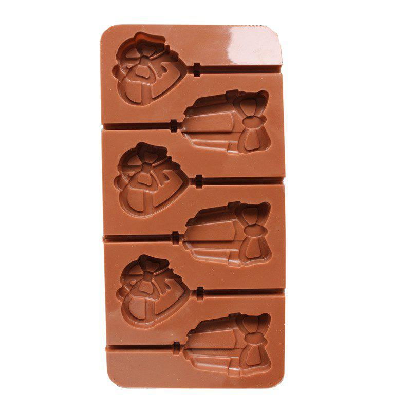 2 Pcs Love Heart-Shaped Lovely Bell Environmental Protection Food Silicone  Lollipop Chocolate Mold - BROWN