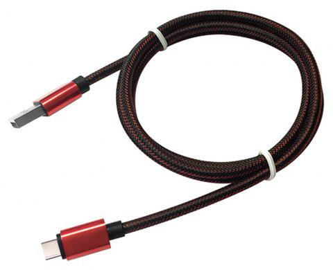 1M Nylon Braid Fast Charger Data Cable for Type-C  Devices - RED/BLACK