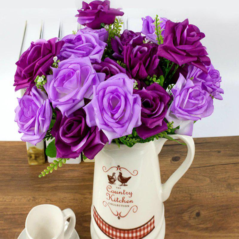 Artificial Flower Vivid Rose Bouquet Home Decorative Display - PURPLE 35CM X 12CM
