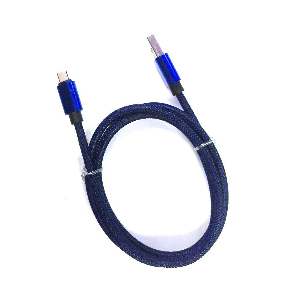1M Nylon Braid Fast Charger Data Cable for Type-C  Devices - BLUE/BLACK