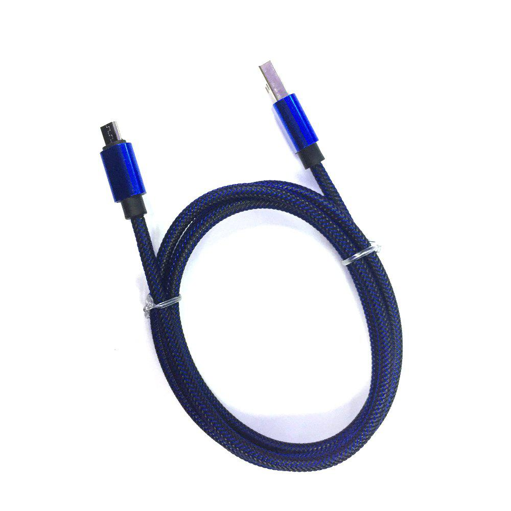 1METER Nylon Micro USB Cable for Samsung HTC Huawei Xiaomi Android Fast Charge Wire - BLUE/BLACK