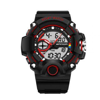 Sanda 715 1288 Fashion Trend Outdoor Sport Multi-Functional Silicone Strap Man Waterproof Watch - RED RED