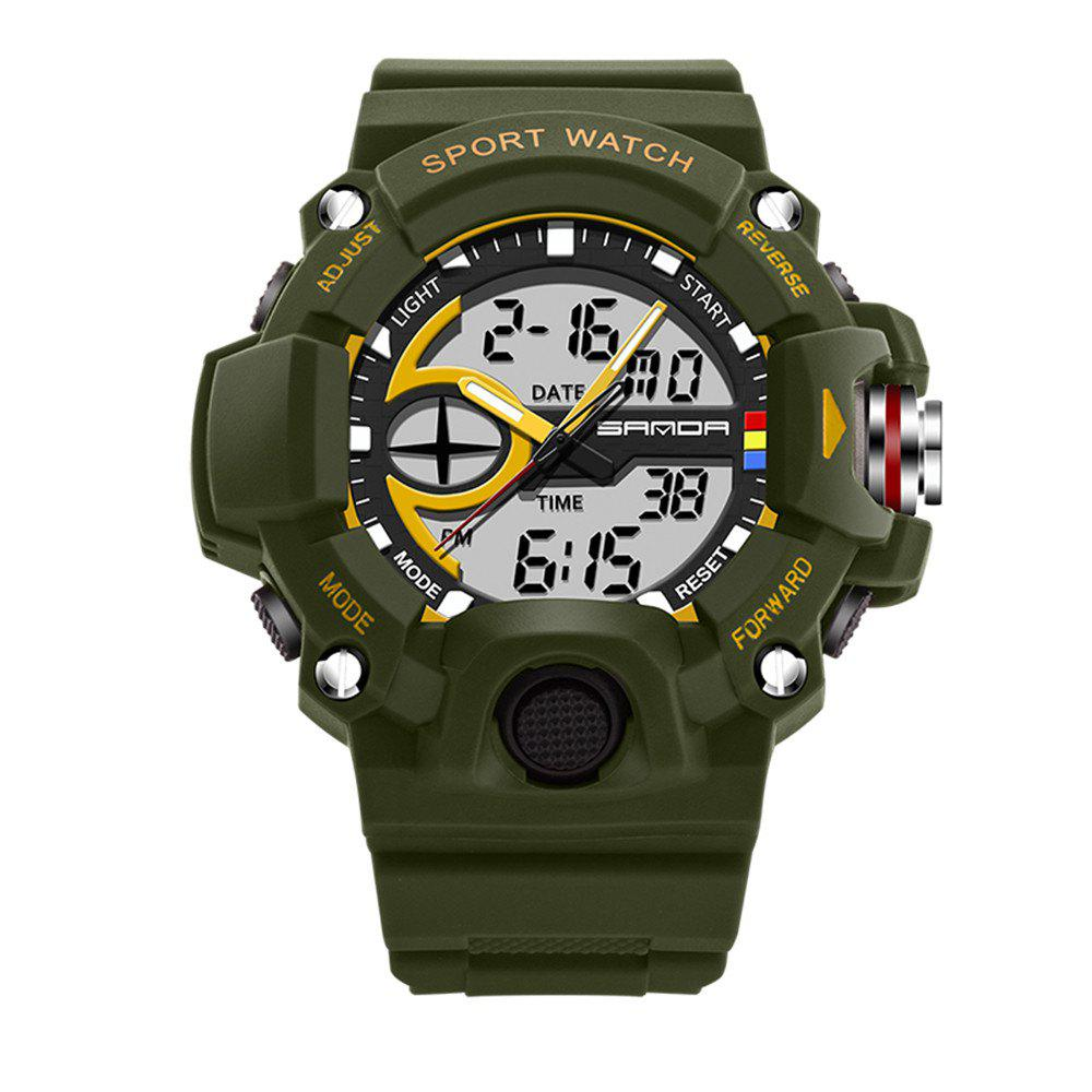 Sanda 715 1288 Fashion Trend Outdoor Sport Multi-Functional Silicone Strap Man Waterproof Watch - ARMY GREEN