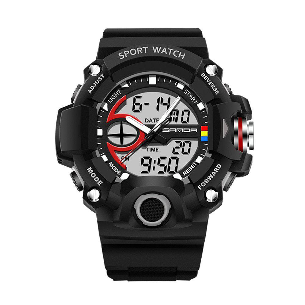 Sanda 715 1288 Fashion Trend Outdoor Sport Multi-Functional Silicone Strap Man Waterproof Watch - BLACK