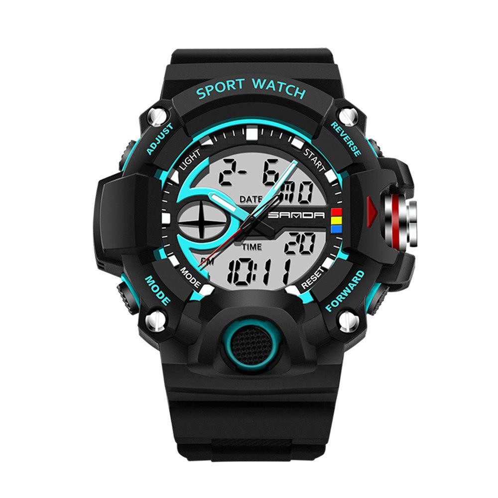 Sanda 715 1288 Fashion Trend Outdoor Sport Multi-Functional Silicone Strap Man Waterproof Watch - BLUE