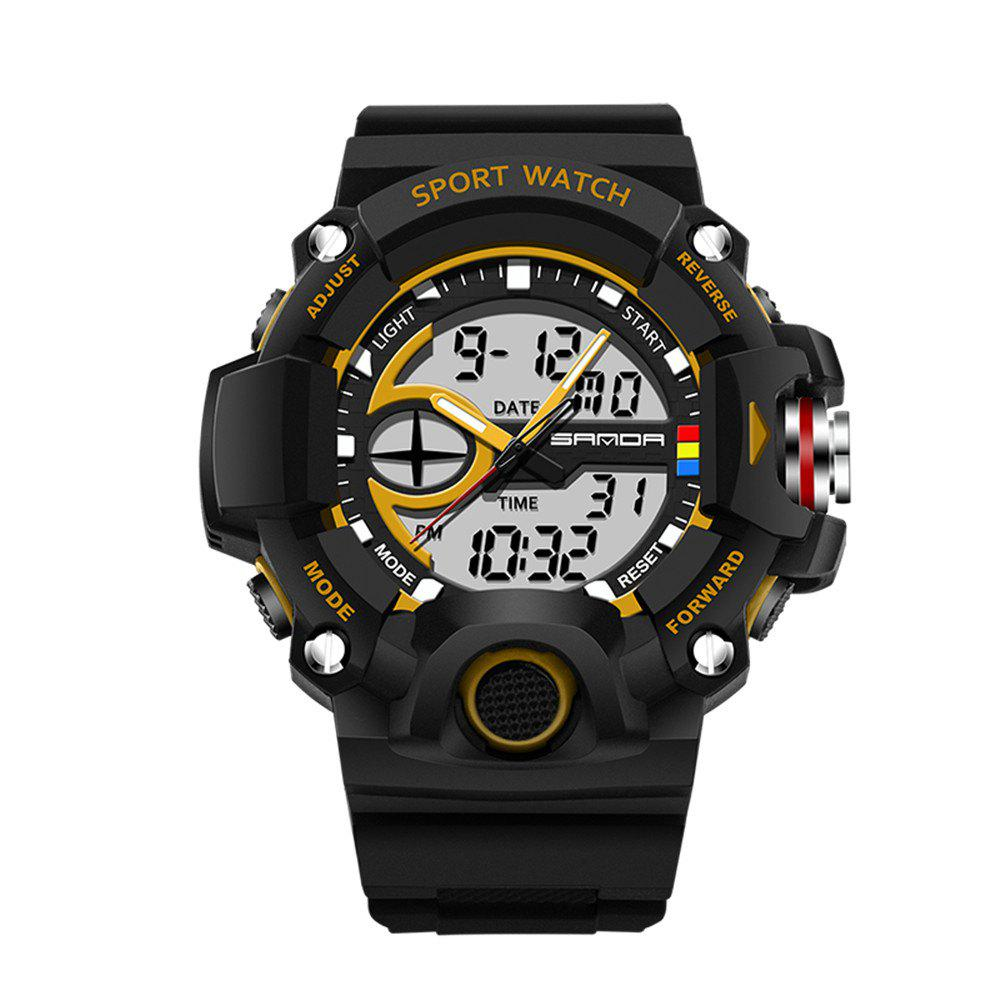 Sanda 715 1288 Fashion Trend Outdoor Sport Multi-Functional Silicone Strap Man Waterproof Watch - GOLDEN