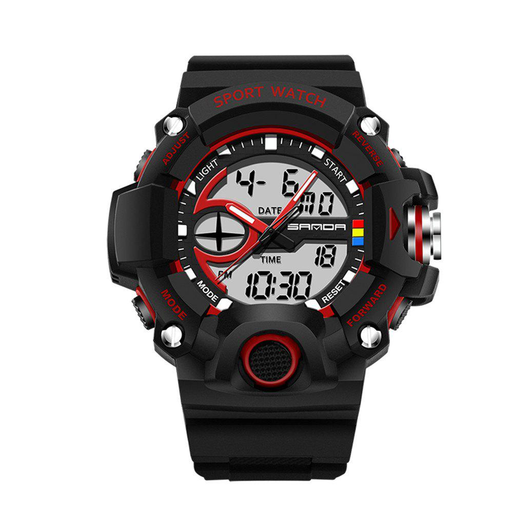 Sanda 715 1288 Fashion Trend Outdoor Sport Multi-Functional Silicone Strap Man Waterproof Watch - RED