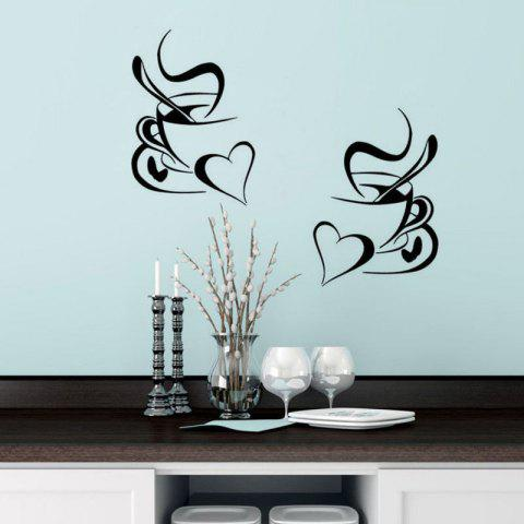 2019 kitchen wall sticker coffee cup with heart kitchen vinyl wall