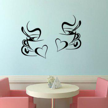 Kitchen Wall Sticker Coffee Cup with Heart Kitchen Vinyl Wall Art Decor Decal Stickers 30X20CM Mural - BLACK 30X20CM X2