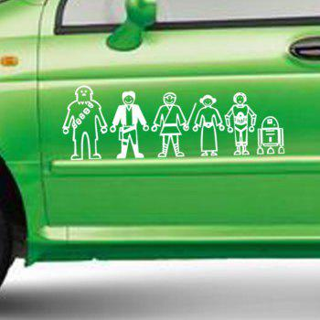 Six Cartoon People Figure Vinyl Wall Sticker Car Decals - WHITE 23 X 7.8 CM