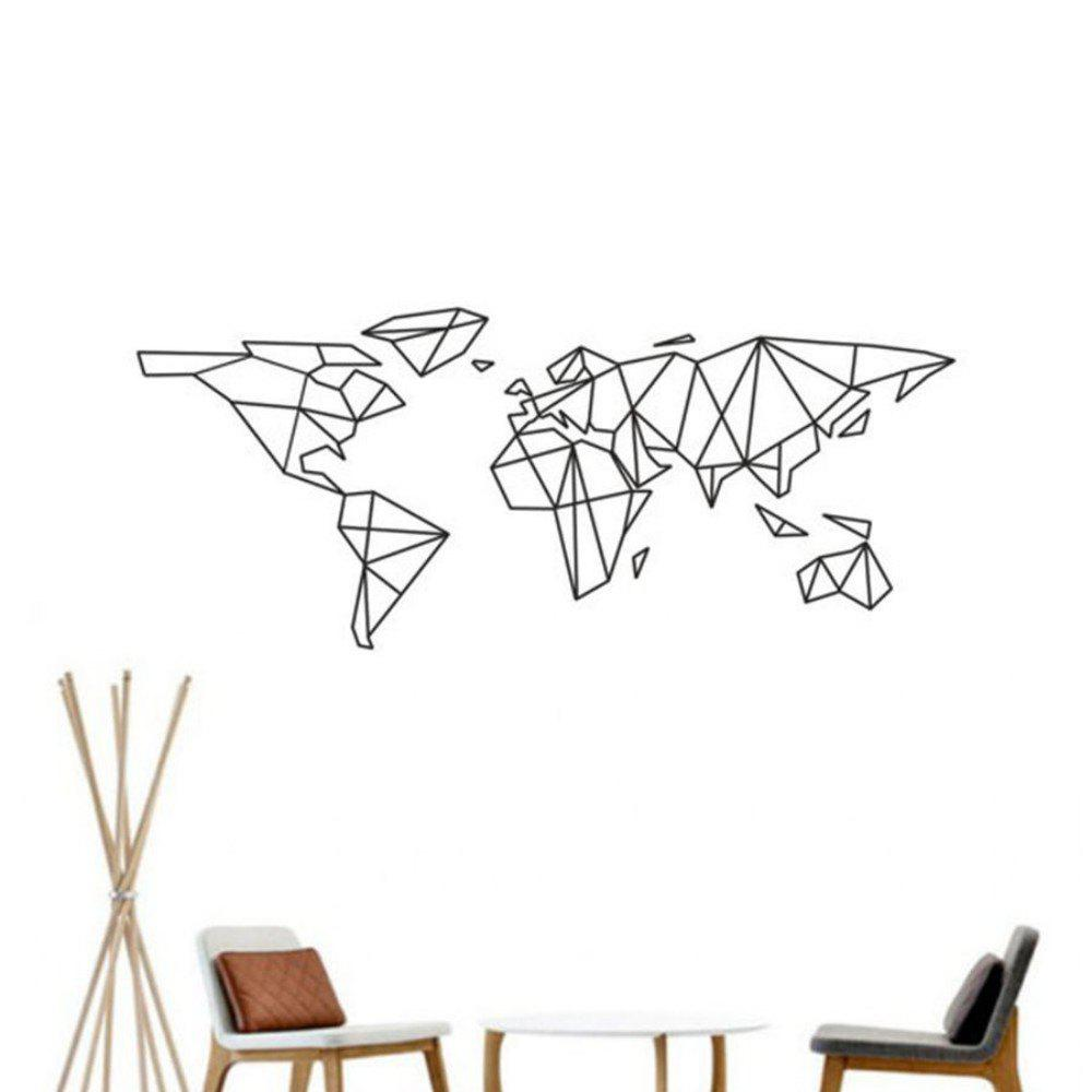 Geometric World Map Vinyl Wall Sticker for Kids Room Murals Decals Home Decoratin - BLACK 58 X 140CM