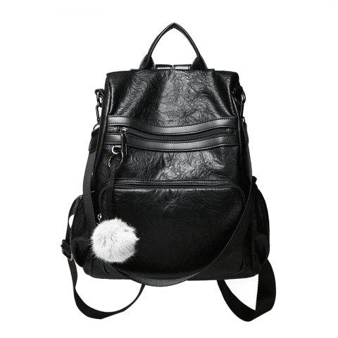 Fashionable Sheepskin Pattern Backpack Delivery Fur Ball Ornaments - BLACK VERTICAL