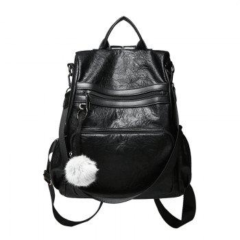 Fashionable Sheepskin Pattern Backpack Delivery Fur Ball Ornaments - BLACK BLACK
