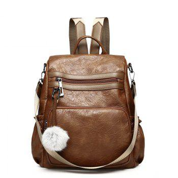 Fashionable Sheepskin Pattern Backpack Delivery Fur Ball Ornaments - BROWN BROWN