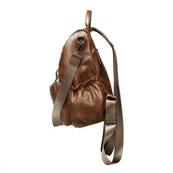Fashionable Sheepskin Pattern Backpack Delivery Fur Ball Ornaments - BROWN VERTICAL