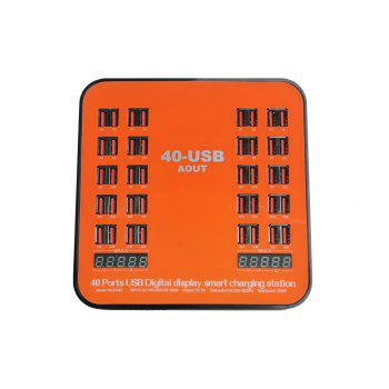 840 USB Multi-port Charger for 8 Pin Multi-function Rechargeable LCD Dynamic Display 150W High Power - ORANGE US PLUG