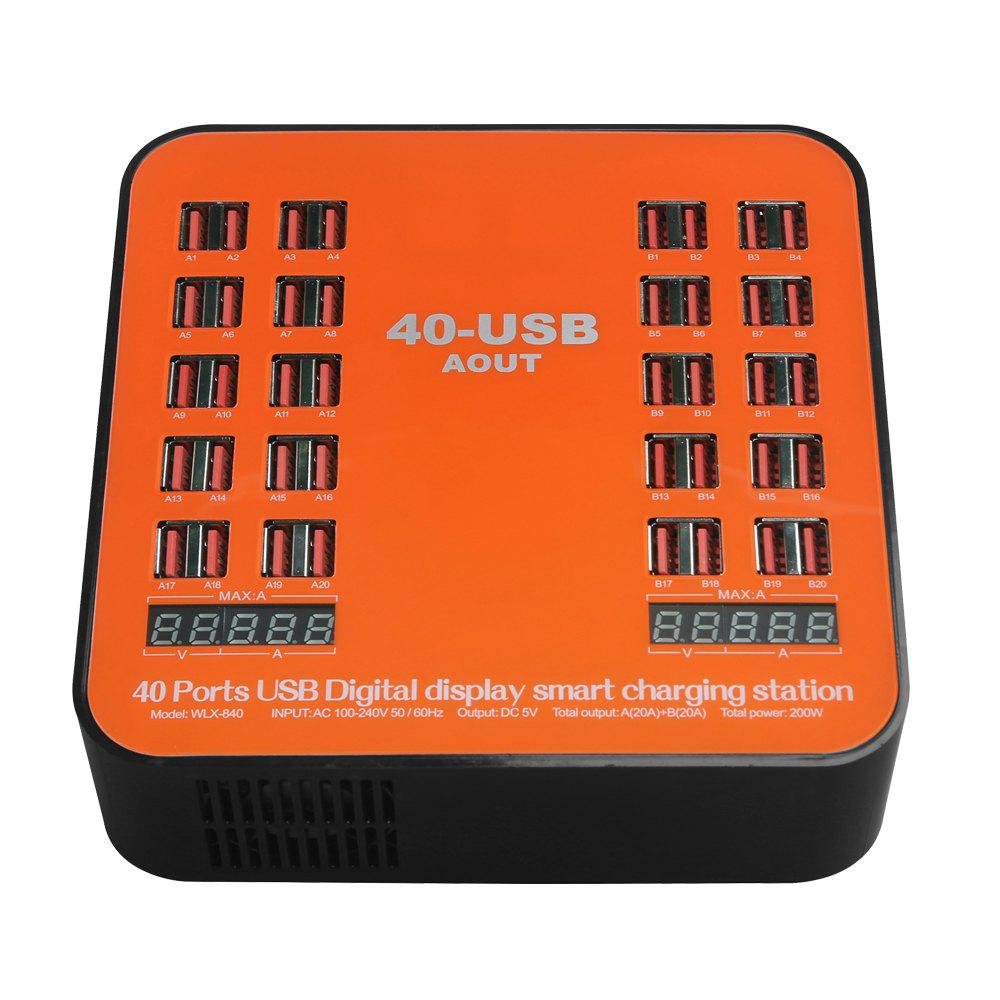 USB Wall Charger 200W 40-Port Dual Digital Display Smart Charging Station - multicolor UK PLUG