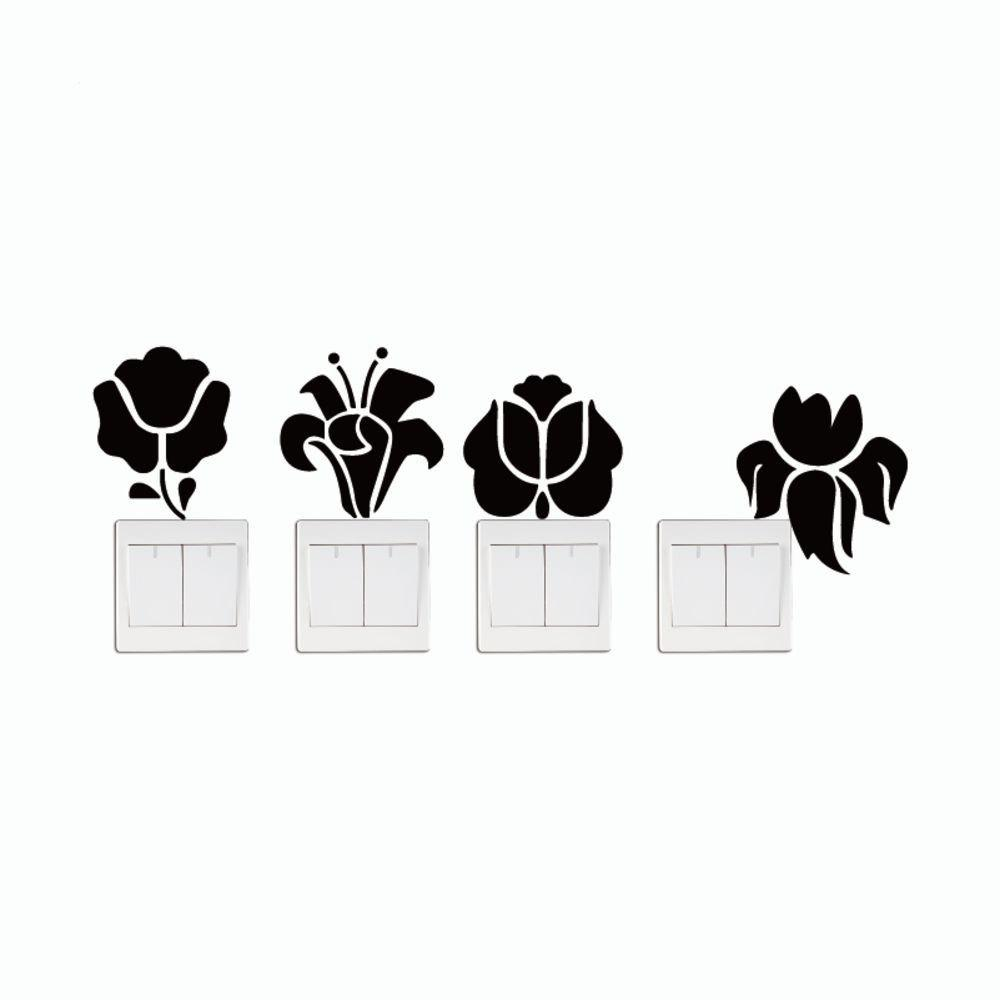DSU  4Pcs Creative Flower Switch Sticker Natural Style Cartoon Flower Silhouette Wall Decor - BLACK 11 X 37.5 CM
