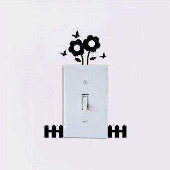 DSU  Beautiful Flower Switch Sticker Natural Style Plant Vinyl Wall Sticker for Kids Room - BLACK 9.1 X 7.8 CM