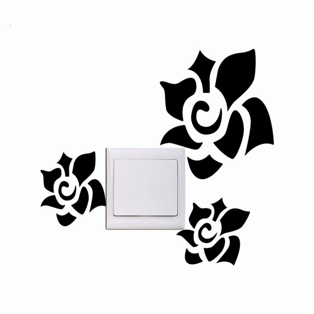 DSU Cordial Flower Refrigerator Door Furniture Cabinets Wardrobe Moisture Adhesive Wall Sticker - BLACK 13 X 26.7 CM