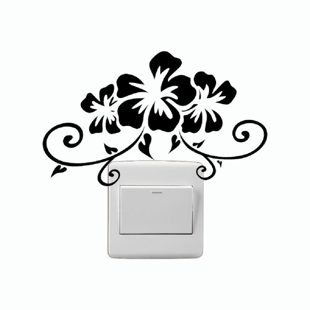 DSU Creative Bauhinia Flower Vinyl Switch Sticker Cartoon Plant Wall Sticker Home Decor - BLACK 16 X 13.3 CM