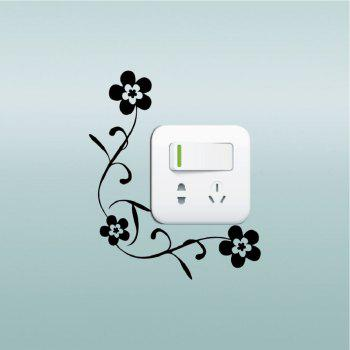 DSU Creative Genuine Florets Vinyl Switch Sticker Cartoon Set Flower Wall Sticker for Home Decoration - BLACK 16.6 X 13.6 CM