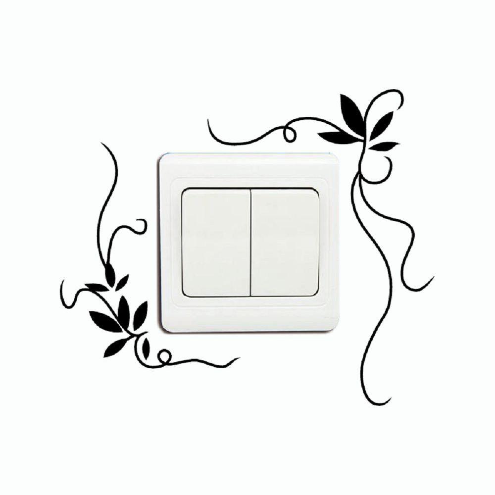 DSU  Creative Plant Vines Flower Vine Switch Sticker Vinyl Wall Sticker Home Decor - BLACK 13.8 X 11.5 CM