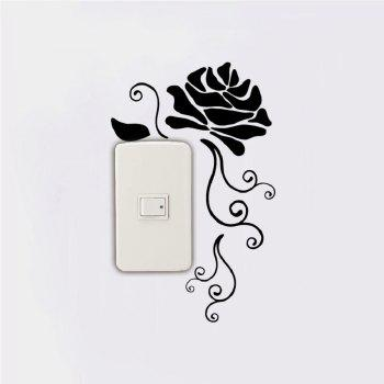 DSU Creative Rose Silhouette Vinyl Switch Sticker Natural Style Cartoon Flower Wall Decar - BLACK 25.8 X 16.5 CM