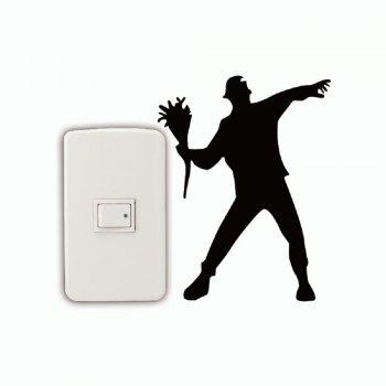 DSU  Flower Thrower Light Switch Sticker Cartoon Silhouette Vinyl Wall Sticker Home Decal - BLACK BLACK