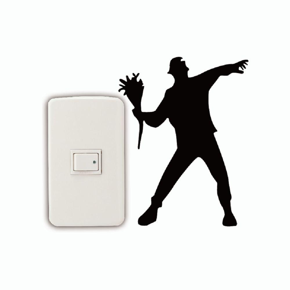 DSU  Flower Thrower Light Switch Sticker Cartoon Silhouette Vinyl Wall Sticker Home Decal - BLACK 16.5 X 12.6 CM