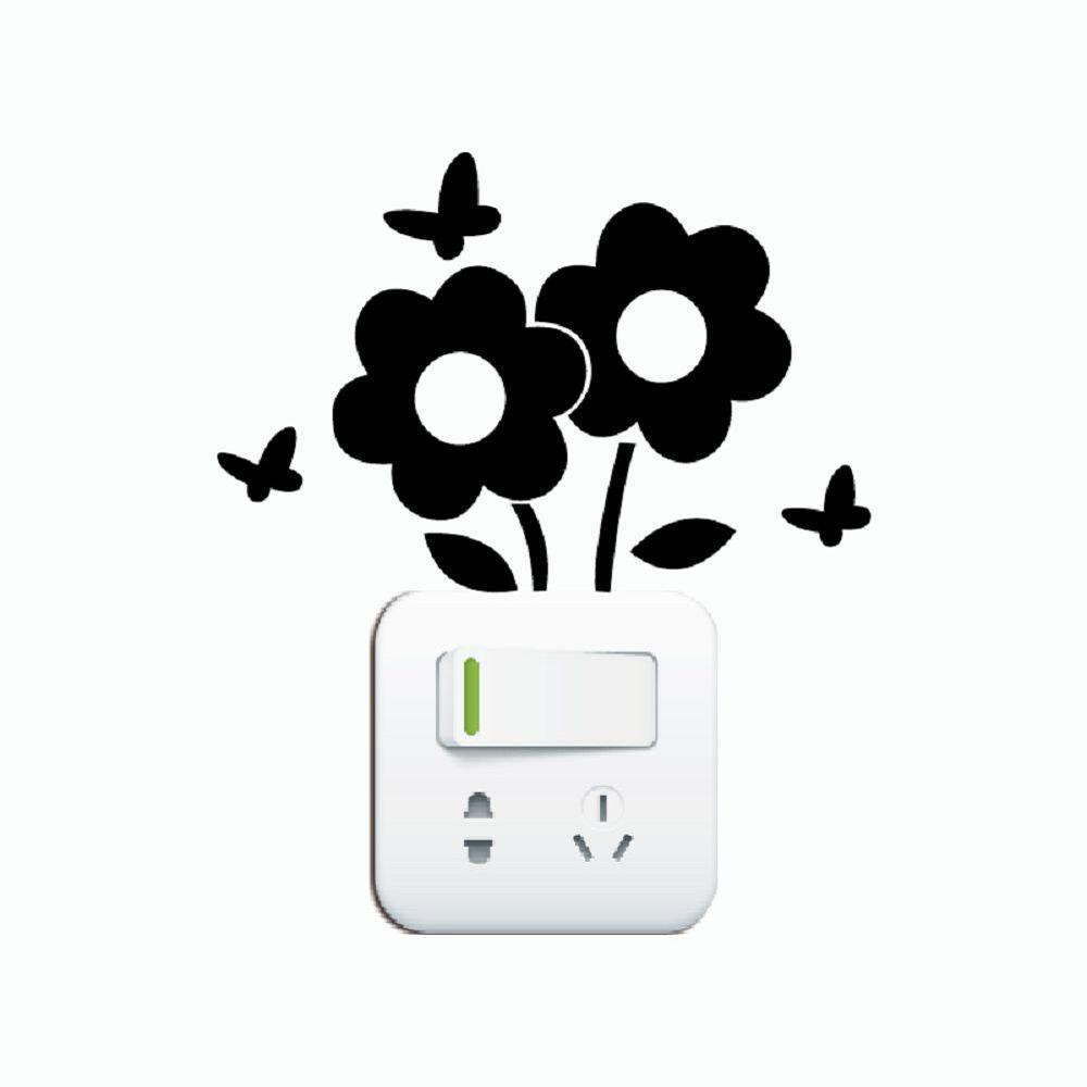 DSU Lovely Flowers Switch Sticker Cartoon Plant Vinyl Wall Sticker for Kids Room Decal - BLACK 10.1 X 15 CM